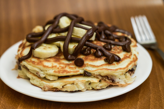 These Nutella Filled Chocolate Chip Banana Pancakes Will