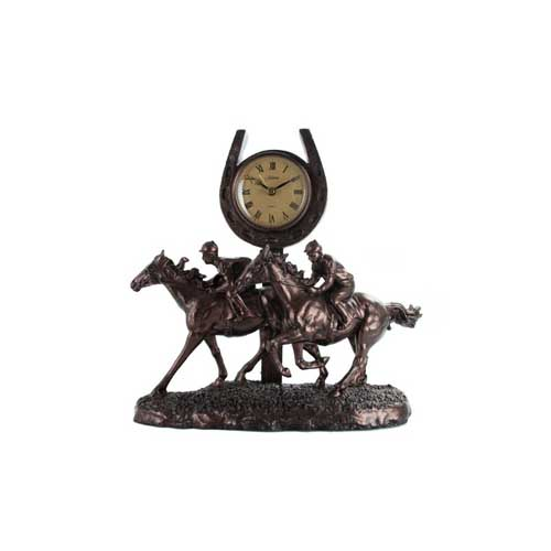 Juliana Bronze Race Horse Galloping Past the Post Clock