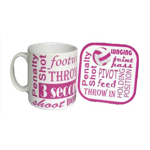 Netball Text Mug and Coaster Set