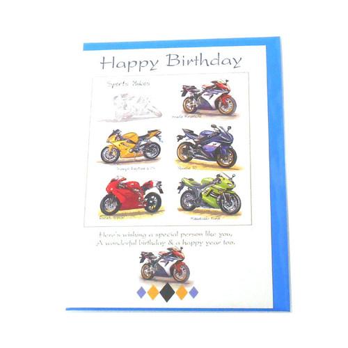 Sports Bikes Happy Birthday Card