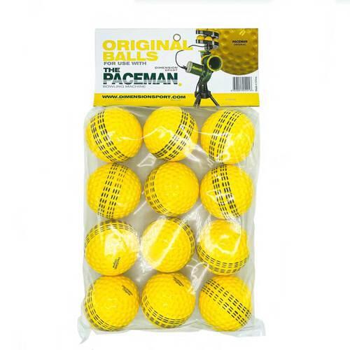 Paceman Light Bowling Machine Balls - Yellow x 12