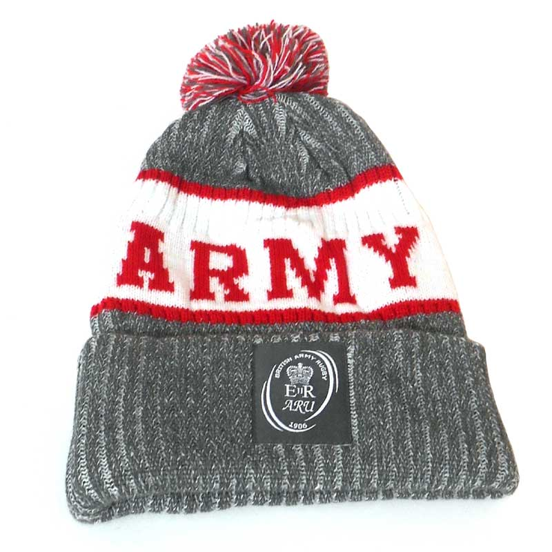 72f826698ea Army Rugby Union Bobble Beanie Hat - Grey White Red