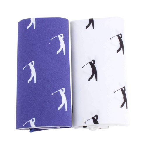 Blue & White Golfer Print Cotton Handkerchiefs