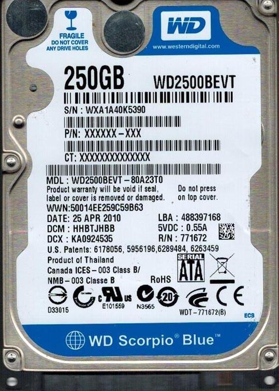 WESTERN DIGITAL 250GB WD2500BEVT-80A23T0 DCM: HHBTJHBB