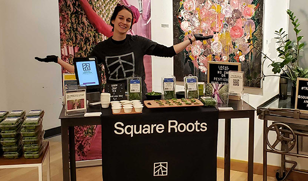 Square Roots Farmer Emma Coz doing an in-store demo at Brooklyn.