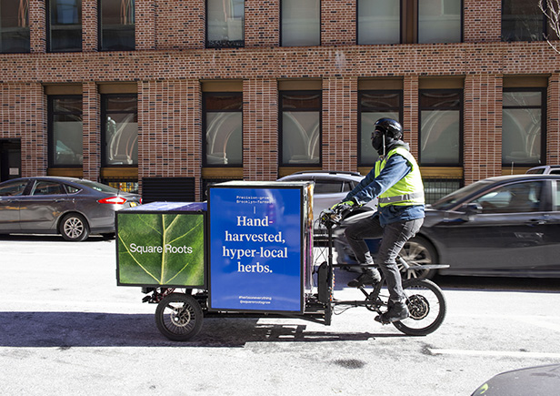 Square Roots herbs being delivered around NYC and Brooklyn by e-trike.