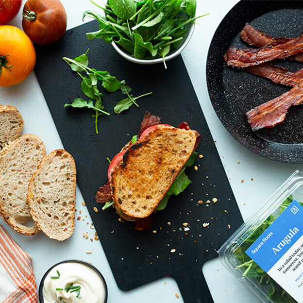 Square Roots' Bacon, Arugula, Tomato Sandwich with ingredients laid out