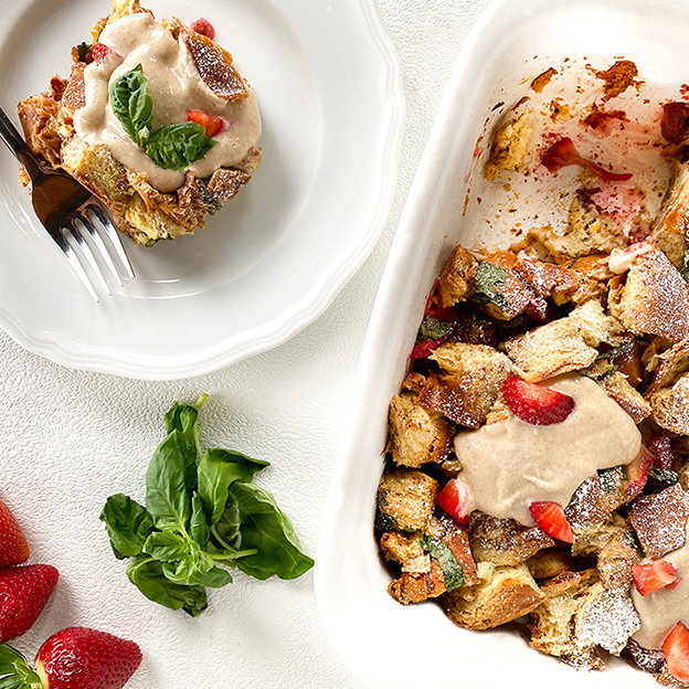 Square Roots Berry Basil French Toast Casserole with Spero Sunflower™ Cream Cheese Topping