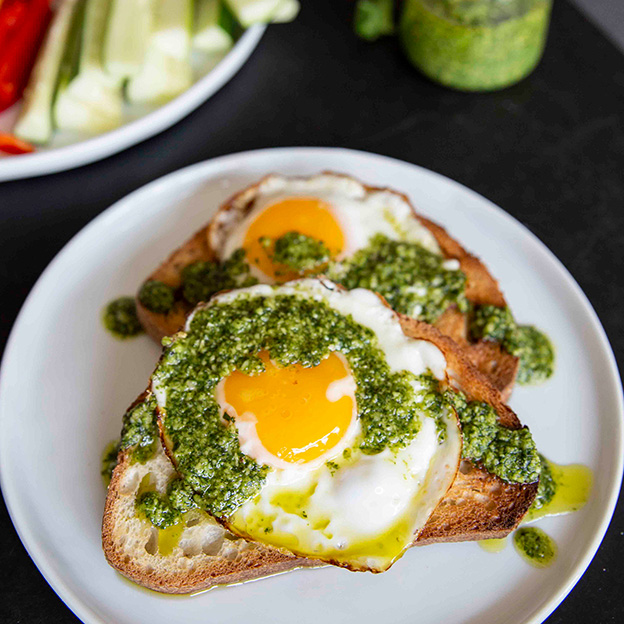 Square Roots pesto with eggs