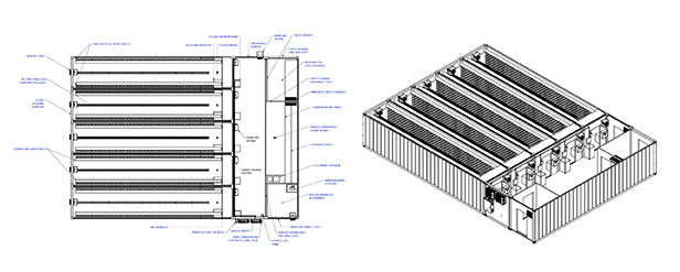 Square Roots technical drawings of Climate Container, indoor farms.