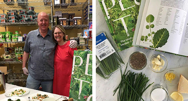 Leslie with her husband Dave, sampling fresh pesto made from her new cookbook—Pesto: the Modern Mother Sauce—using Square Roots hyper-local herbs.