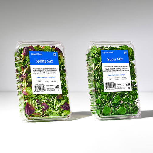 Square Roots branded packaged produce, Spring Mix and Super Mix