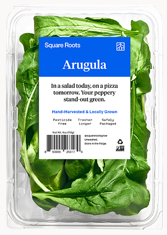 Arugula inside a single branded Square Roots clamshell