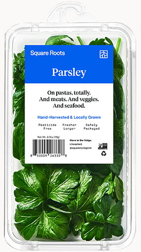 Parsley inside a single branded Square Roots clamshell