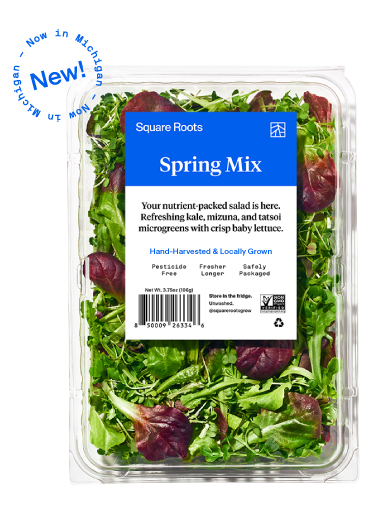 Spring Mix inside a single branded Square Roots clamshell