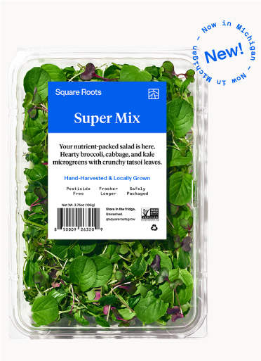 Super Mix inside a single branded Square Roots clamshell