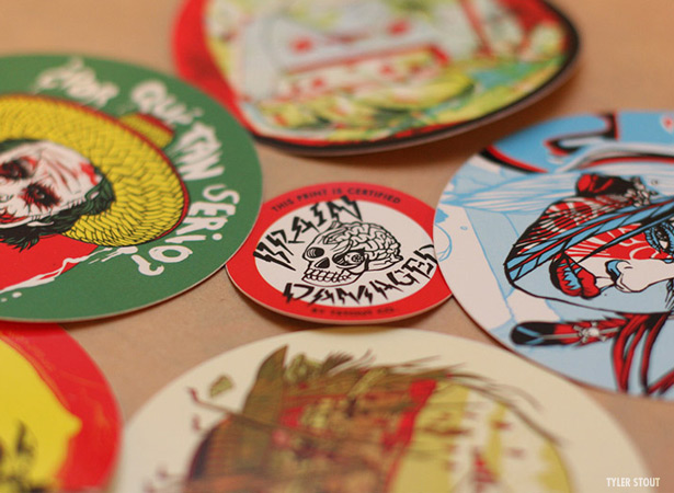 Round screen printed stickers vinyl