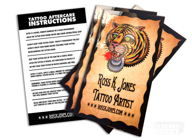Tattoo care instruction stickers