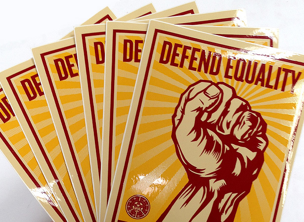 Defend equality stickers