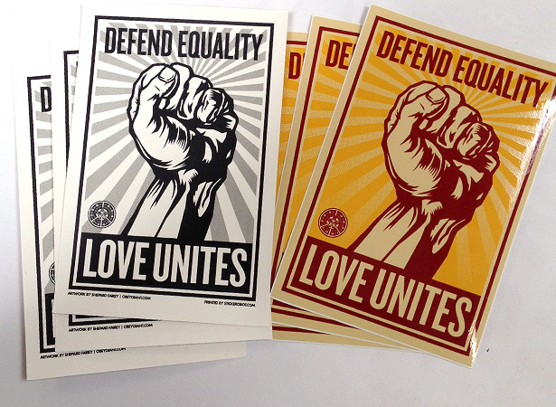 Defend equality obey stickers
