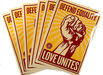 Defendequality obey silkscreen stickers