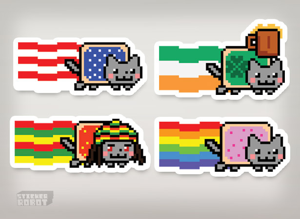 Nyan cat custom silkscreen stickers