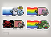 Nyan cat 4 silkscreen stickers