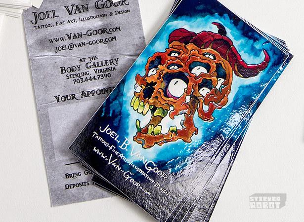 Custom printed sticker business cards