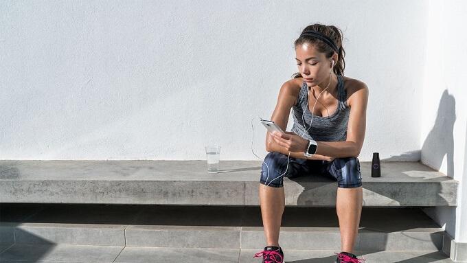 Woman measuring metabolism