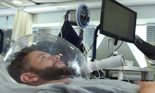 Performing tests for a man lying in a bed