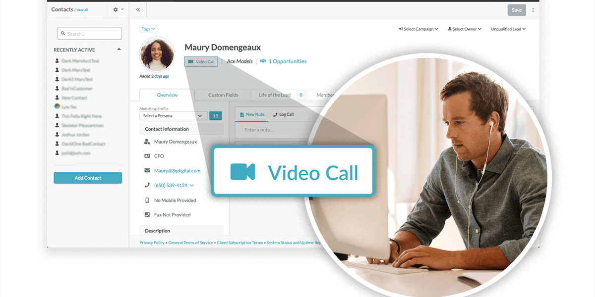 CRM and marketing automation_video calls
