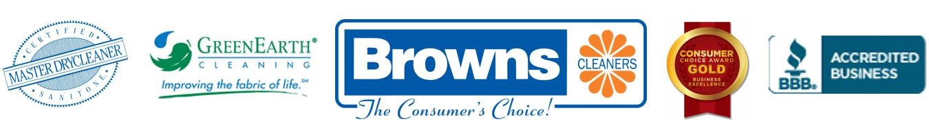 Browns Cleaners logo with Master Dry Cleaner icon, GreenEarth logo, Consumers Choice icon and Better Business Bureau icon