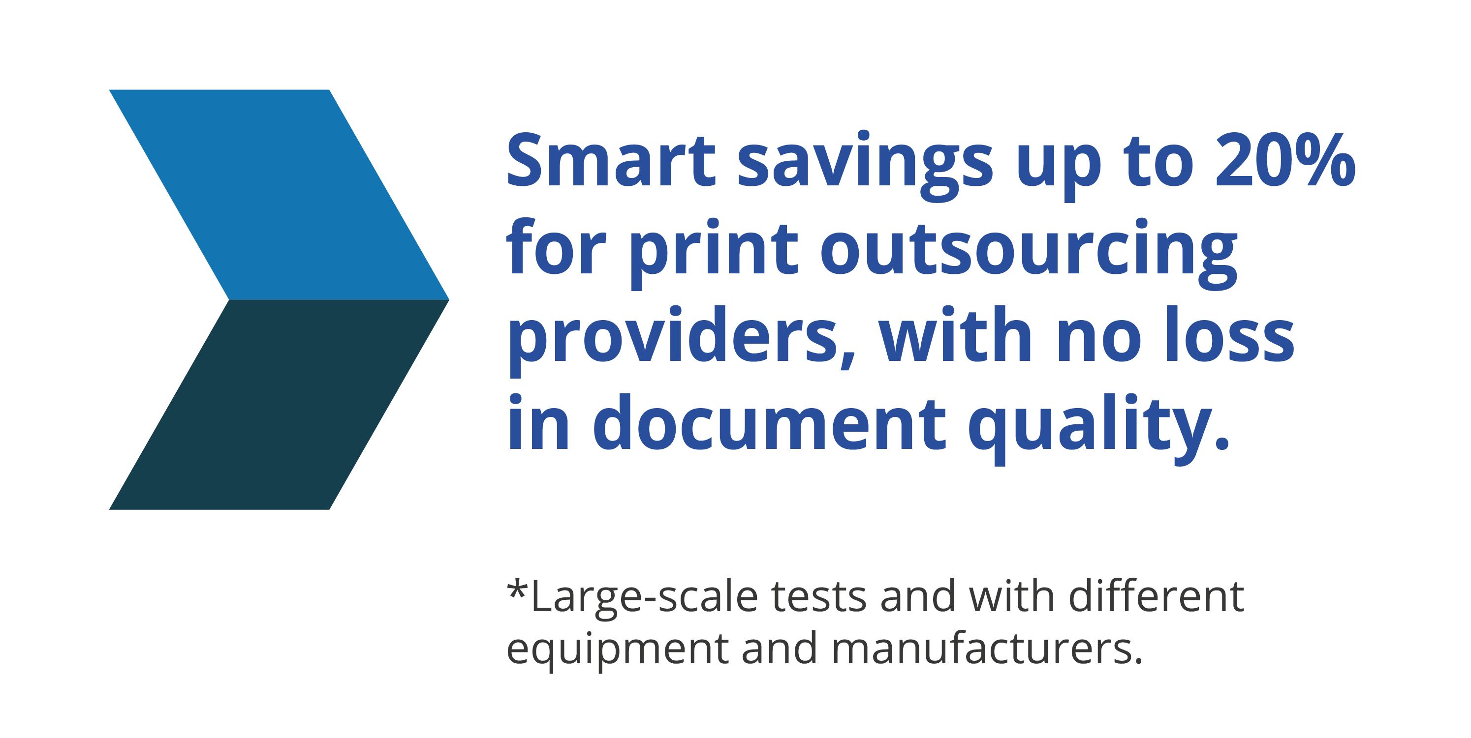 Smart savings up to 20% for print outsourcing providers, with no loss in document quality.