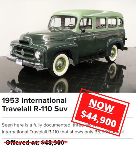 1953 International Travelall R-110 Suv RPICE DROP