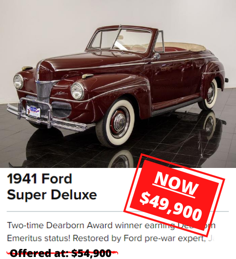 1941 Ford Super Deluxe price drop