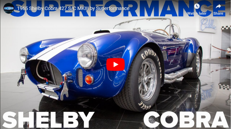 New video up now featuring a1965 Shelby Cobra 427 S/C MKIII by Superformance