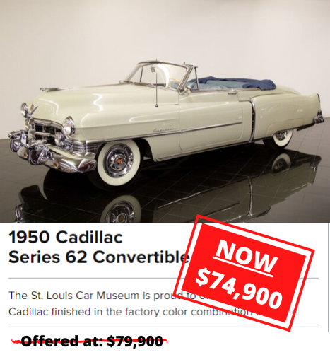 1950 Cadillac Series 62 Convertible Coupe price drop