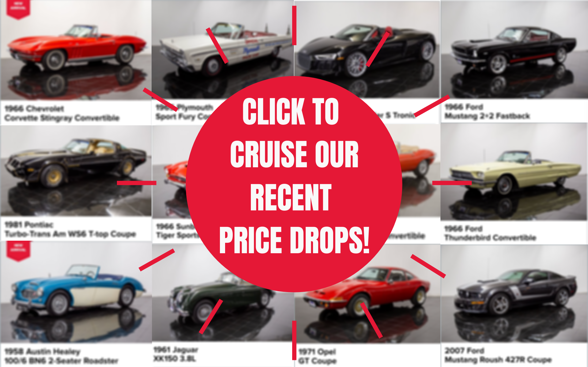 price drops on classic and collector cars