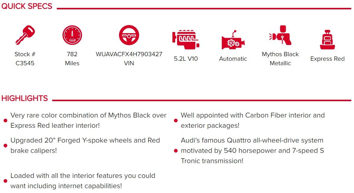 2017 Audi R8 V10 Quattro Spyder S Tronic for sale