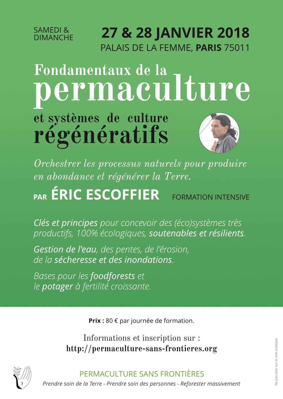 Affiche de la formation de Paris, Eric Escoffier, 27-28 janvier 2018