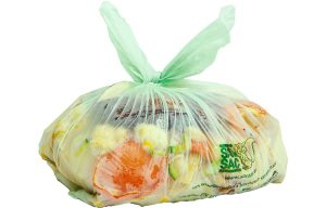 a plastic bag with rubbish inside