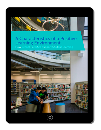 image of a tablet  with the 6 characteristics of a positive learning environment on it