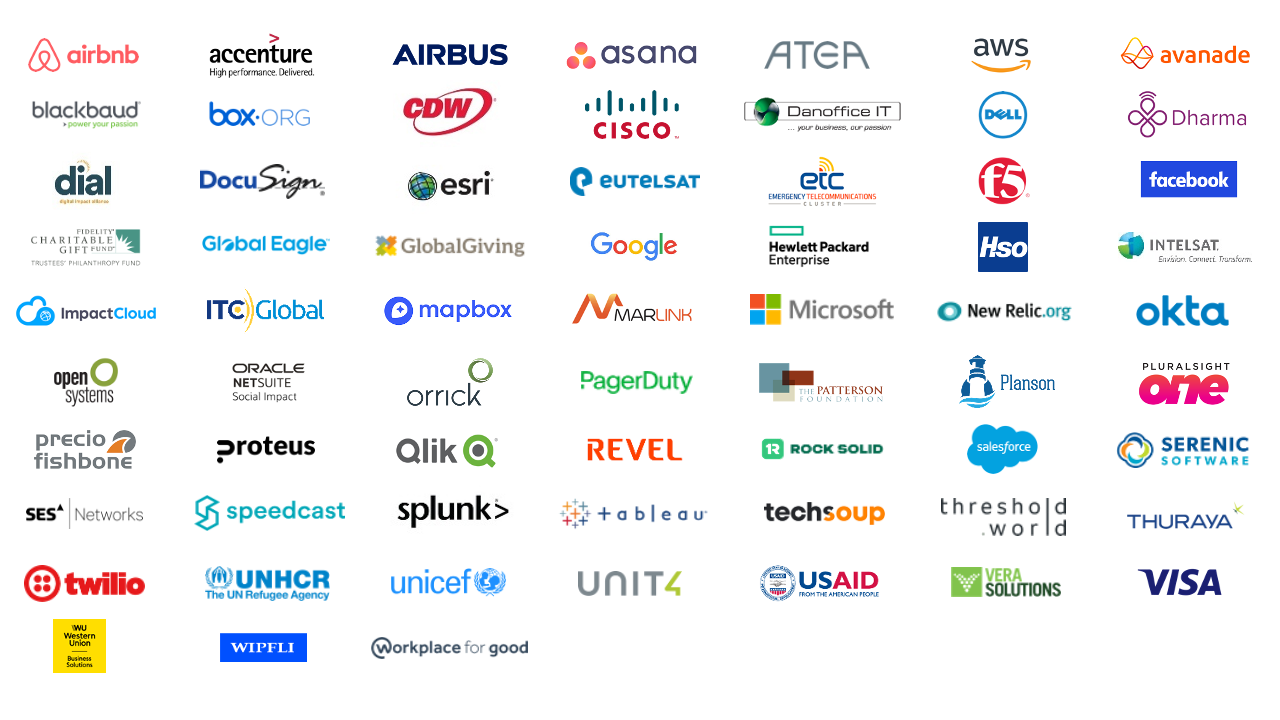 A graphic that shows the logos of all 82 of organizations that are partnering with, or donating to NetHope