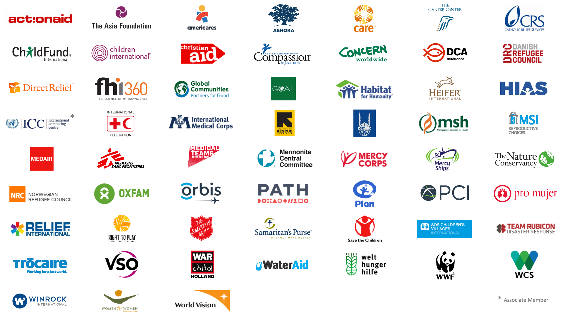 A graphic that shows the logos of all 57 of NetHope's member organizations