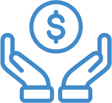 Hands holding money icon in blue