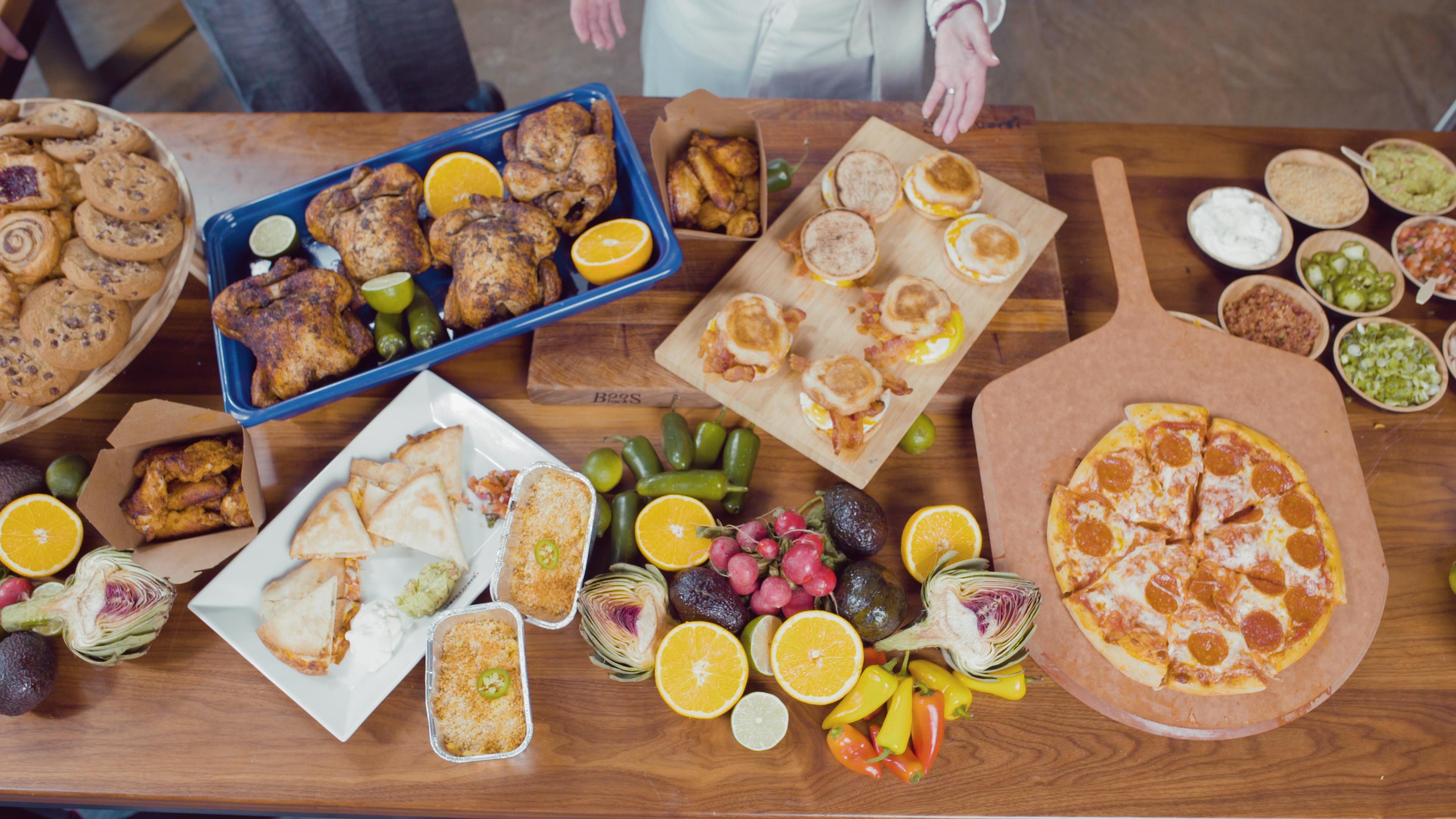 Array of healthy foods in combi oven