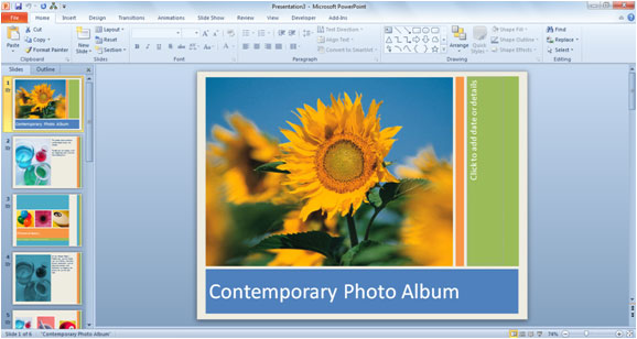 How to Use PowerPoint 2010 Templates – Template for Photo Album