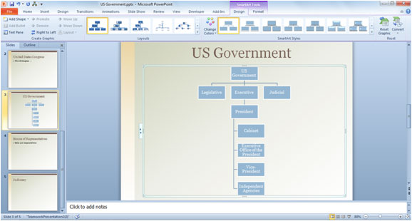 how to use smartart in microsoft powerpoint 2010 - Organizational Chart In Powerpoint 2010