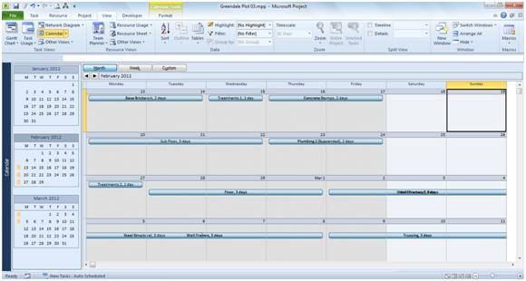 formatting calendar view in project 2010