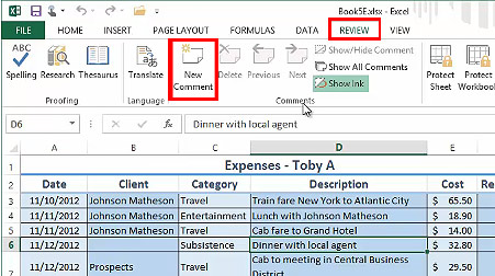 Review Tab in Excel 2013